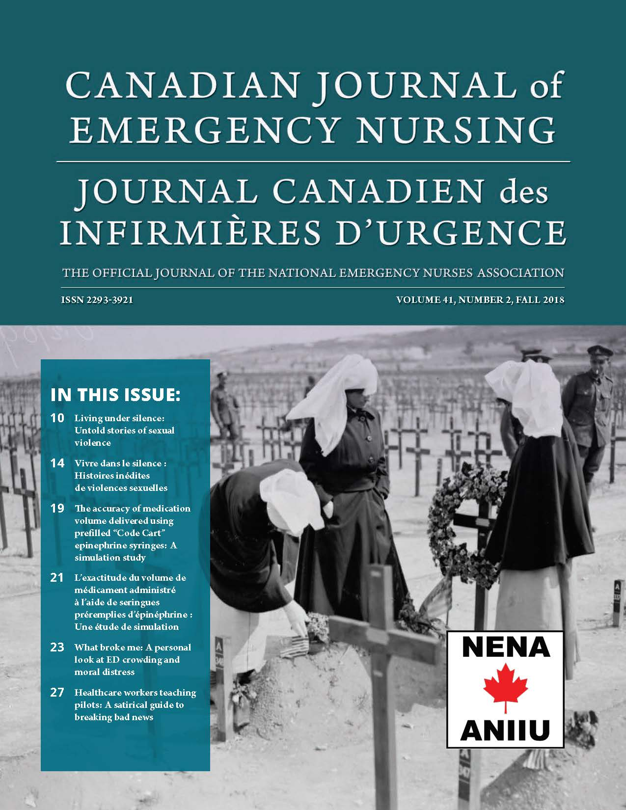 View Vol. 41 No. 2 (2018): Fall 2018: Canadian Journal of Emergency Nursing