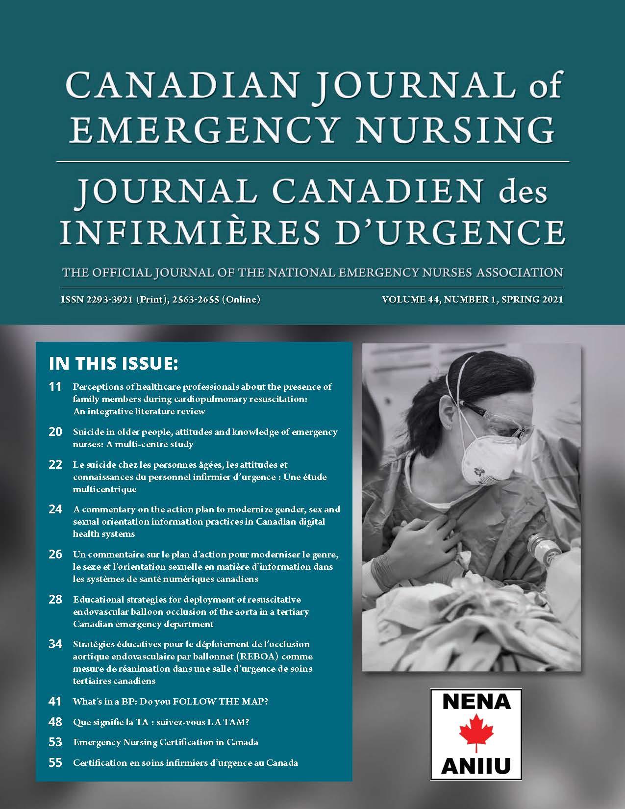 View Vol. 44 No. 1 (2021): Spring 2021: Canadian Journal of Emergency Nursing